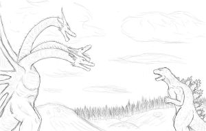 Godzilla vs King Ghidorah by ContentialChampion