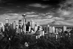 Seattle and Mount Rainier by gadgetsguru
