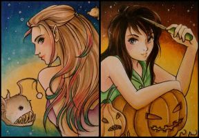 ACEO 115 + 116: Halloween OCs by MTToto