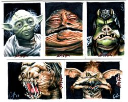 Star Wars Sketch Cards II by AstroVisionary