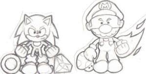 Mario and sonic chibi by LightningGuy