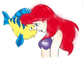 Ariel and Flounder by PrincessLeiaX