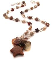 Brown Button and Star Necklace by fairy-cakes
