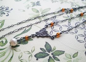 Oxidized Victorian Steampunk Amber Glass Necklace by QuintessentialArts