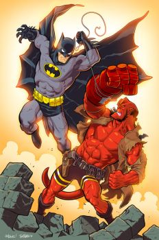 Inking, Coloring Ed McGuinness - Batman / Hellboy by TomMartinArt