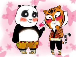 Po and Tigress: Cherry Blossom love (Chibi) by Nilusanimationworld
