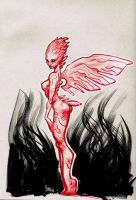 Drink And Draw- Red Alien Winged Girl by ARTofANT