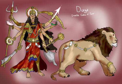 Smite Concept - Durga, Invincible Goddess of Power by Kaiology
