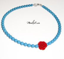 Turquoise swarovski pearl necklace with red rose by AmeliaLune