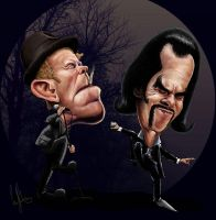 Tom Waits and Nick Cave caricature by ziggy-q