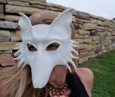 White Wolf Mask in Creme White by teonova