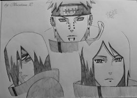 Nagato,Pein and Konan by Monstacookie