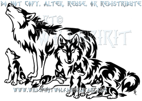 Tribal Wolf Family Design by WildSpiritWolf