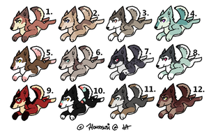 Chibi Wolves Adoptables 1. by MichelsAdoptions