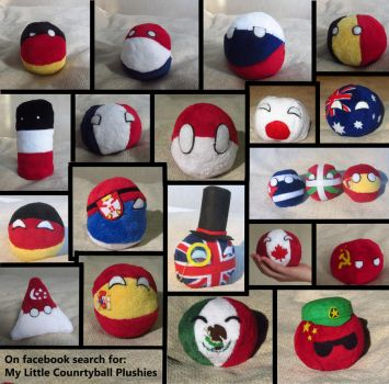Montage of my Countryball plushies by Spark-Strudel