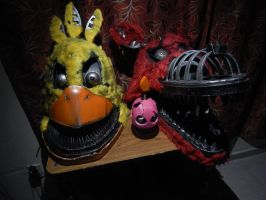 Nightmare chica and foxy heads by UlyKompean