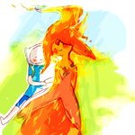 Finn + Love + Flame Princess by Poiscaille