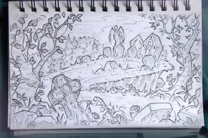 cemetery_sketch by inSOLense