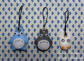 Totoro Trio Charms by EmilyHitchcock