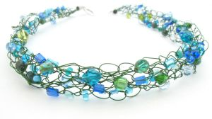 Green and Blue Wire Crochet Beaded Necklace by MoonlightCraft