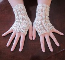 Ivory Lace Fingerless Gloves by PamGabriel