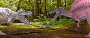 Emperor watches T Rex and Spinosaurus Fight by timbox129