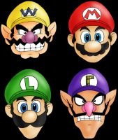 Four Mario Brothers by Rosien-HoH