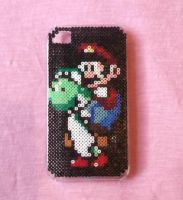 Super Mario Hama Bead IPhone Case by obscurepastels