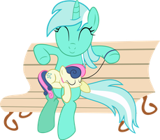 Lyra, taking Bonbon for a walk by Schaafii