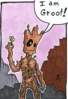 He is Groot sketch card by johnnyism