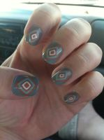 Concentric Diamonds Nail Art by ineedacat9