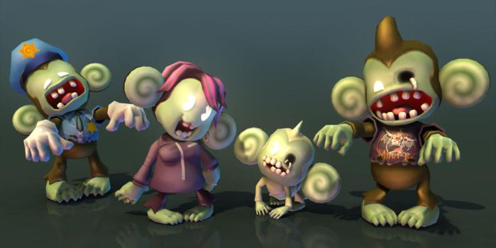 zombie monkies by cheesyniblets
