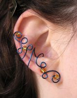 Blue and Yellow ear cuff by lavadragon