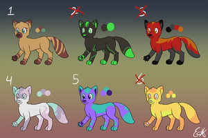 Fox Adoptables (20 points each) by OEmilyThePenguinO