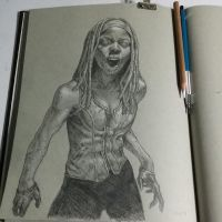 zombie version of michonne by graphitenightmare
