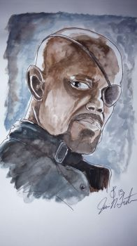 Nick Fury watercolor by JamieNTrout