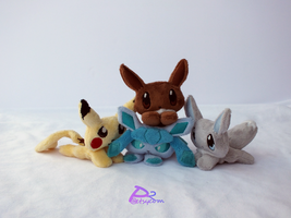 Eevee, Pikachu, Glaceon, Shiny Eevee Pocket Plush by kiashone