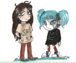 Sally Face: Larry and Sal chibi by AlienNocsastarino