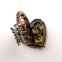Rustic butterfly steampunk locket by SteamSect