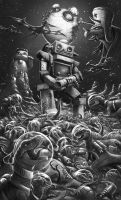 Robsybot Spaceclash (grayscale) by badillafloyd