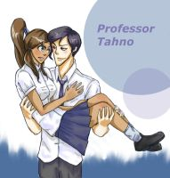Teacher Tahno and School girl Korra by thefuzzysweater
