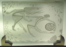 Etched glass skribble dancers by ImaginedGlass