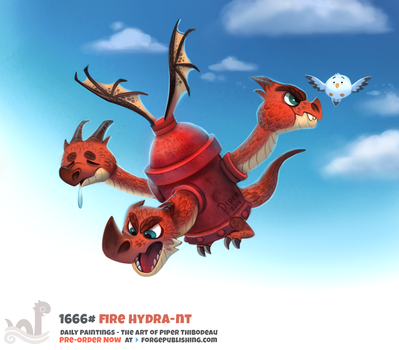 Daily Painting 1666# - Fire Hydra-nt by Cryptid-Creations