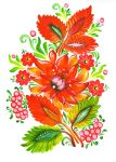 Fire flower -  Ukrainian Folk Art Painting by EkaterinaChernova