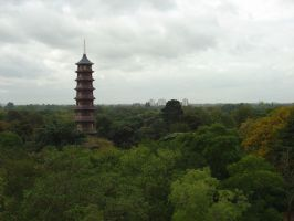 Pagoda rising from the trees by Ommadawn