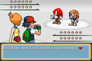 Ash and Misty vs Knuckles and Tikal by BeeWinter55