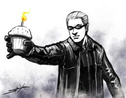 Wesker offers a cupcake by xashe