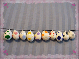 Yoshi Egg Charms by MeckelFoxStudio
