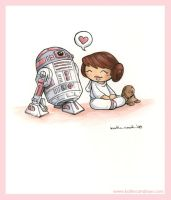 R2-KT and mini Leia by katiecandraw