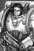 Space marine 1 sketch by faustsketcher